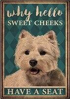 Affiche  Hello Sweet Cheeks has A Seat  en metal  peinture en fer  maison  famille  amoureux  cadeau  panneaux metalliques amusants  nouveaute de chambre a coucher  retro P
