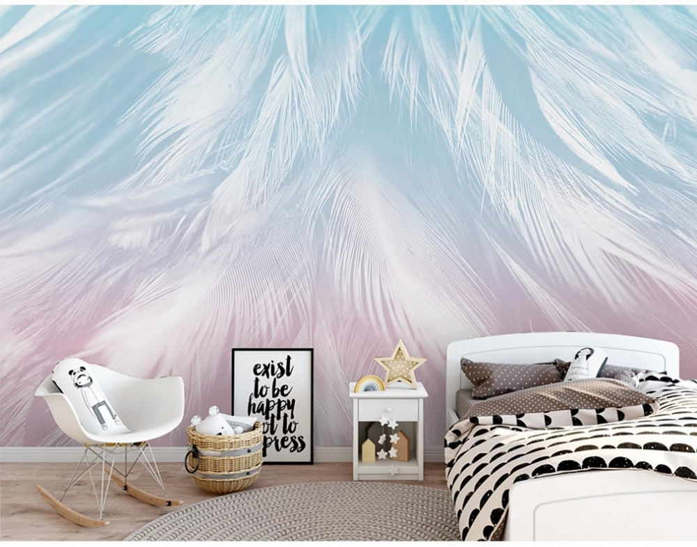Custom wallpaper simple fashion hand-painted feather texture art mural background wall-waterproof material
