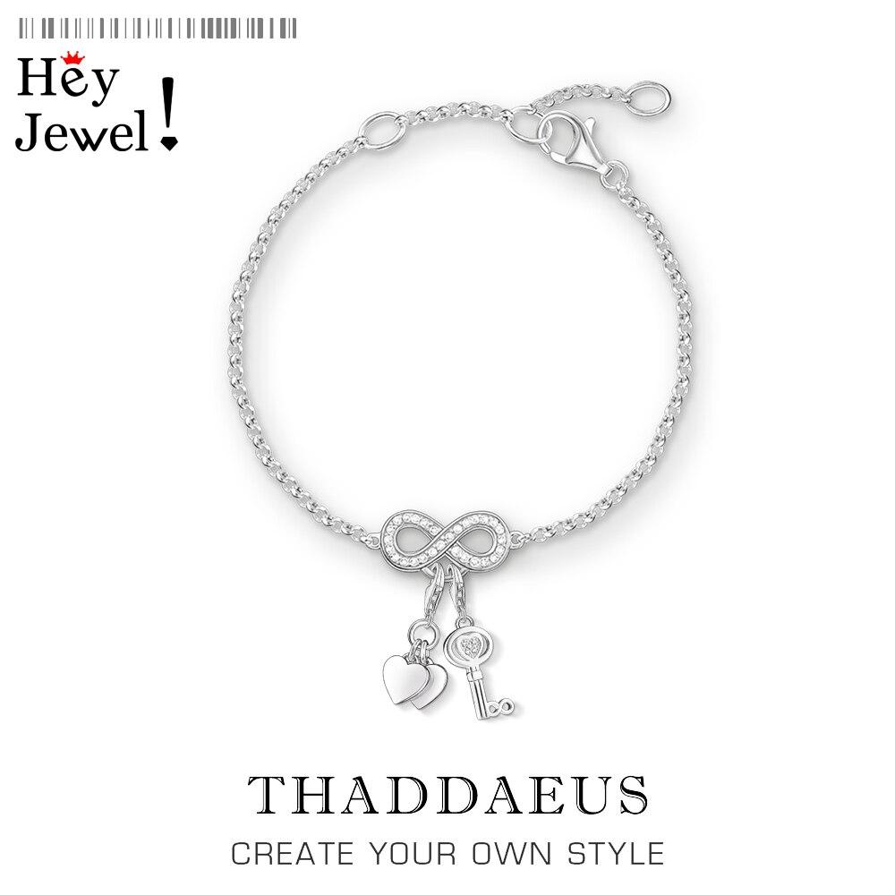 Corações & chave charme pulseiras link chain 925 prata esterlina 2020 verão romântico moda clube jóias thomas estilo feminino presente