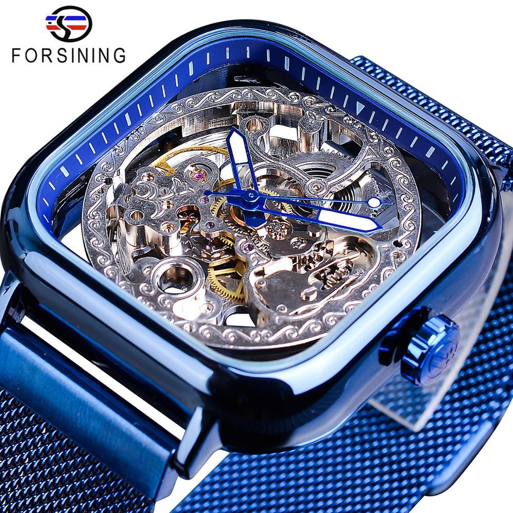 Forsining الأزرق ساعات للرجال التلقائي الميكانيكية فساتين راقية مربع الهيكل العظمي ساعة معصم شبكة ضئيلة سوار فولاذي التناظرية على مدار الساعة