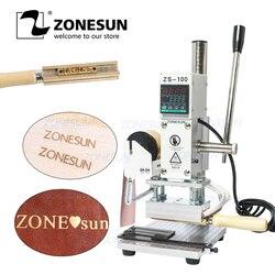 Zonesun zs100 folha quente máquina de carimbo manual máquina de bronzeamento para cartão de pvc couro e madeira máquina de carimbo diy inicial