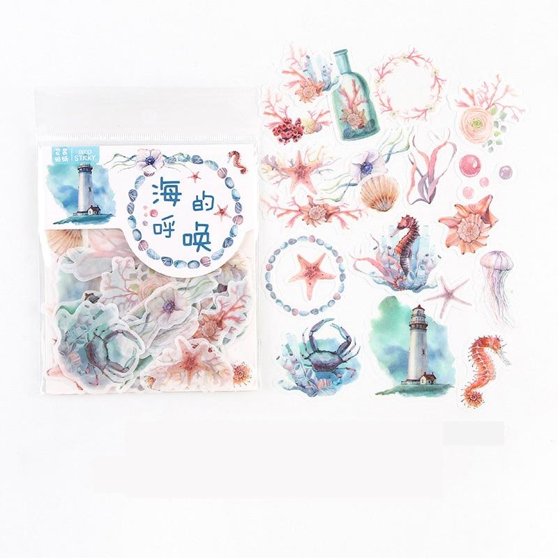 40-unids-pack-oceano-coral-caballito-de-mar-adhesivo-pegatinas-decorativa-de-album-diario-cuenta-mano-decoracion