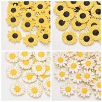 5pcs daisy sunflower flower pendants metal enamel charms for necklace bracelet earring dangle diy handmade craft jewelry making