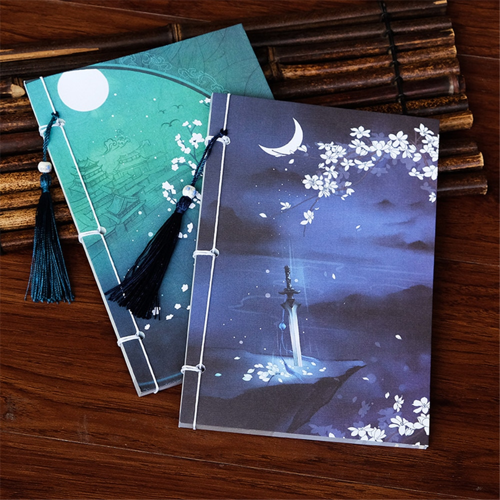 Creative Vintage Luminous Notebook Chinese Style Retro Tassel Handmade Sketchbook Diary Book Stationery School Supplies