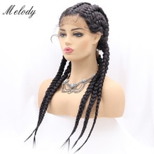Long Braided 30 Inches Synthetic Lace Front Wigs For Black Women Mixed Braid Wig Gray Ombre Blonde C