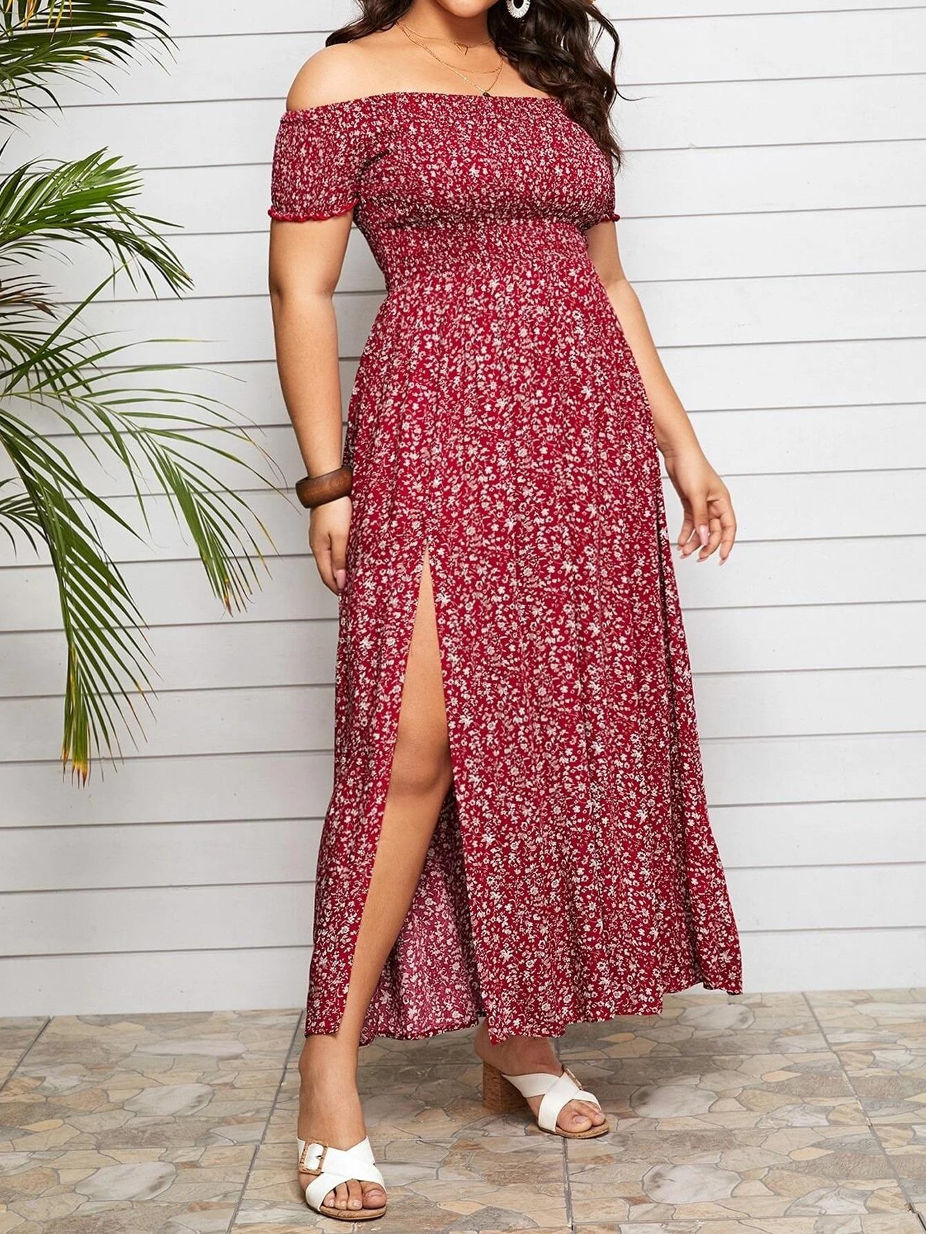 2021 Summer Dress Women Slash Neck Floral Print Off Shoulder Dress Plus Size Asymmetrical High Split Sexy Bohemian Beach Dresses