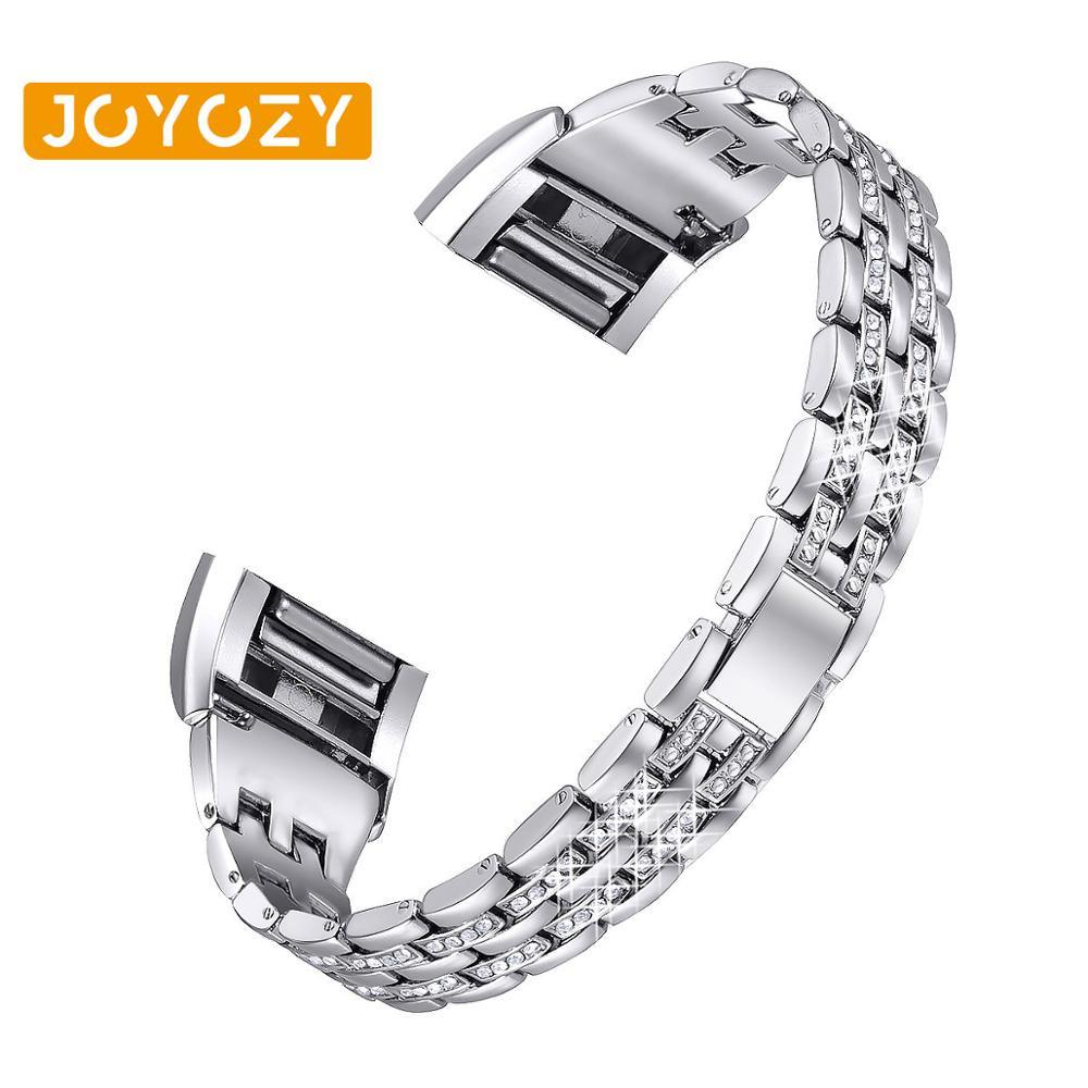 Joyozy accesorios de reloj pulsera banda para Fitbit charge 2 Correa de pulsera inteligente Cadena de acero inoxidable reemplazo para un ajuste