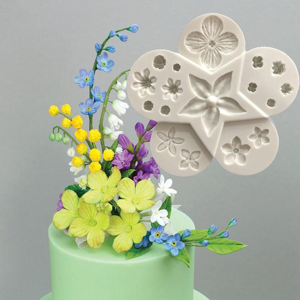 Molde de silicona pequeño pastel con Fondant de flores, moldes de jabón de Chocolate, moldes para pastel de dulces en relieve, flores artísticas de azúcar, decoración de boda DIY