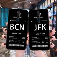 personalised plane ticket black tpu soft phone case cover for oppo a5 a9 2020 reno2 z renoace 3pro realme5pro