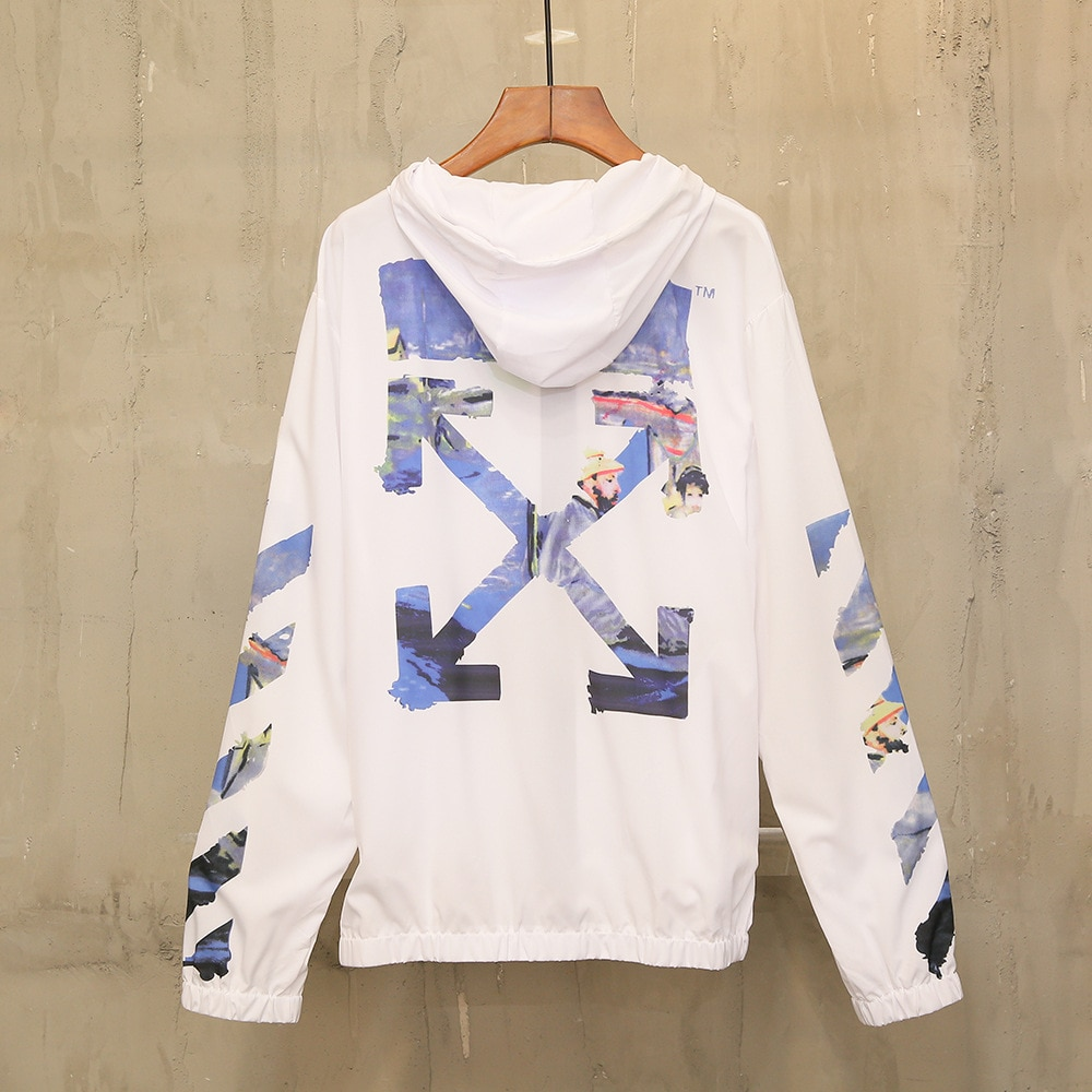 off white ow white summer men's and women's Hooded Jacket outdoor youth breathable sun protective cl