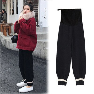 Winter Thicken Warm Plus Velvet Maternity Pants Elastic Waist Belly Pants Clothes for Pregnant Women Pregnancy Trousers enlarge