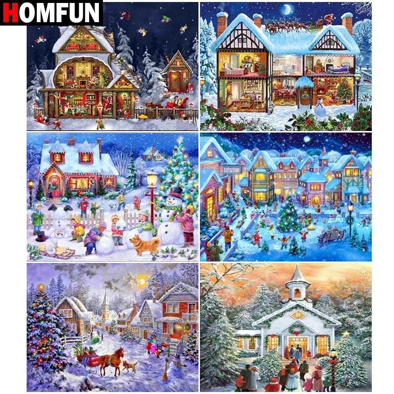 "Pintura HOMFUN con bordado de diamantes ""Snow Santa"" pintura de diamantes imagen redonda de diamante de imitación cuadrada completa Decoración"