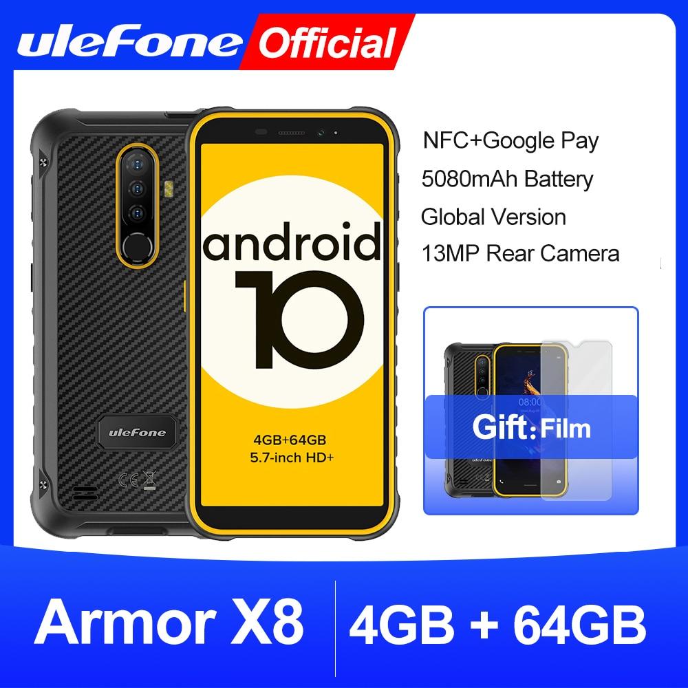 Ulefone Armor X8-هاتف ذكي متين مقاوم للماء, أندرويد 10 هاتف محمول 5.7 بوصة 4 جيجابايت 64 جيجابايت ip68 ثماني النواة NFC 4G LTE هاتف محمول