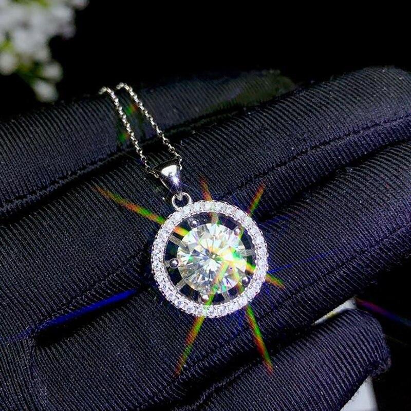 BOEYCJR de plata 925 0.5ct/1ct/2ct/3ct color F anillo VVS compromiso collar con colgante para boda regalo de aniversario de mujeres