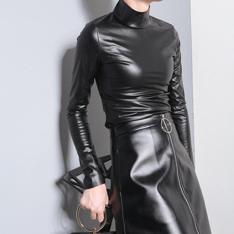 Camisa larga de simulación nueva de cuero de Pu con cuello alto para mujer de cuero Otoño e Invierno