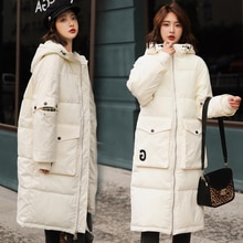 Abrigo Parka para mujer, chaqueta abrigada de invierno con capucha, abrigo largo de algodón grueso para mujer, abrigo informal holgado versión 2019 para mujer