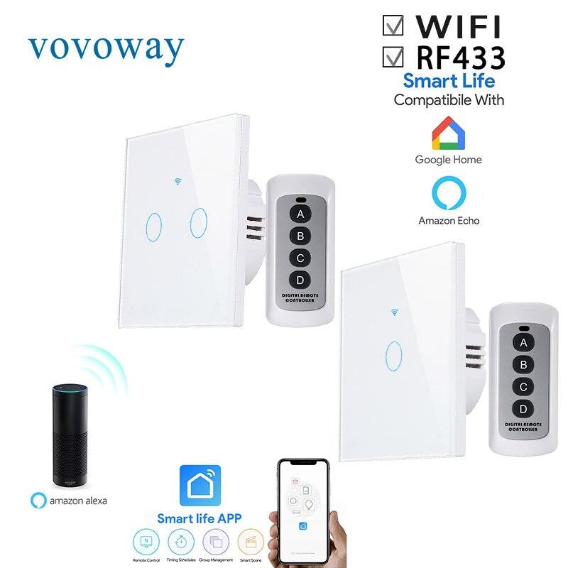 Vovoway الاتحاد الأوروبي اللمس التبديل ، ضوء التبديل ، WIFI شبكة + الهاتف المحمول APP + RF التحكم اللاسلكية وظيفة ، 1gang2gang3gang AC110-V220V