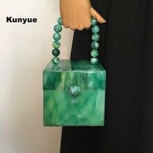 Stilvolle umhängetasche Neue designer braut kupplung grün acryl abend taschen perlen party prom Elegante dame vintage trendy hardbox