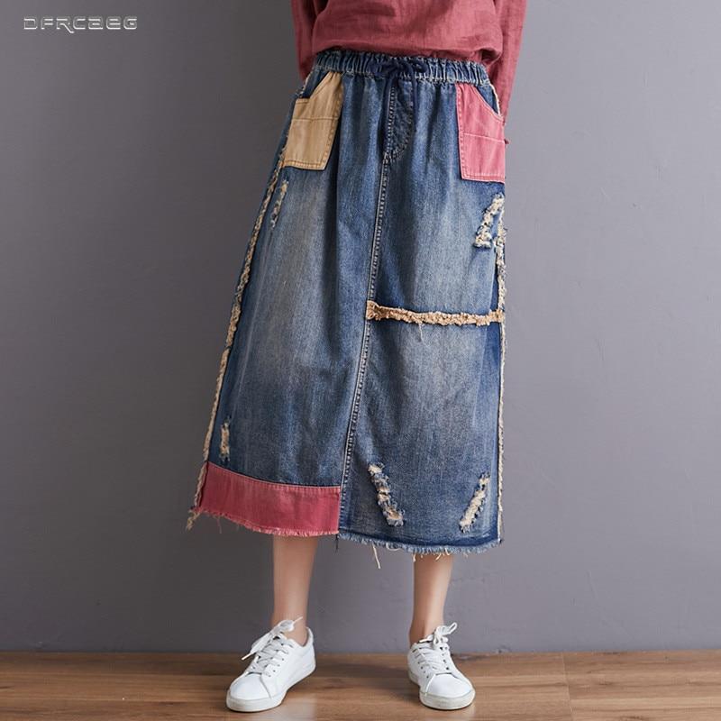 Falda vaquera holgada Vintage Patchwork para mujer Falda larga 2020 otoño cintura elástica Streetwear faldas de mezclilla rasgadas señoras Jean Saia Longa