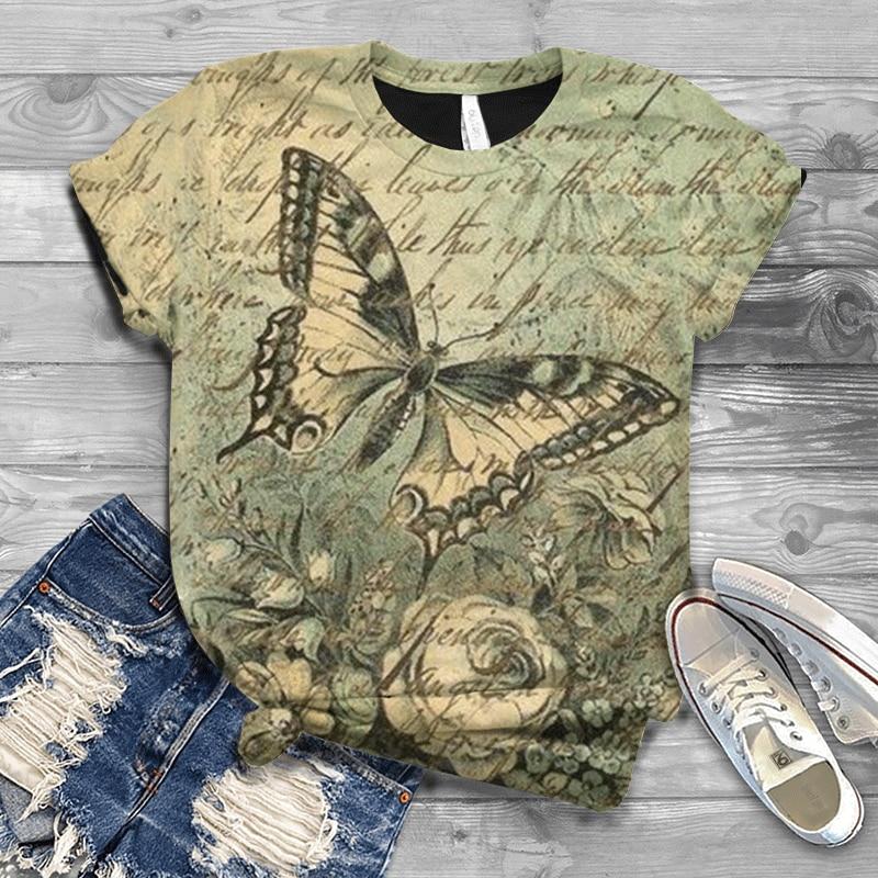 Harajuku-Camiseta De Manga Corta De Mariposa párr Mujer De Camiseta De Talla...