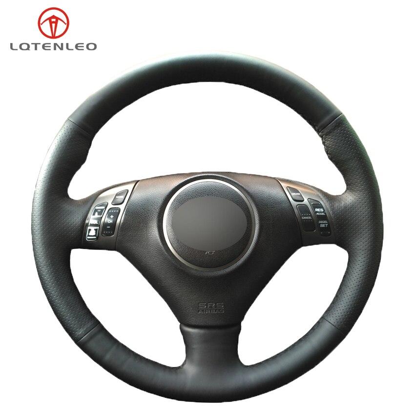 Protector para volante de coche LQTENLEO de piel sintética negra DIY cosido a mano para Honda Accord 7 2002-2007 Acura TSX 2002-2007