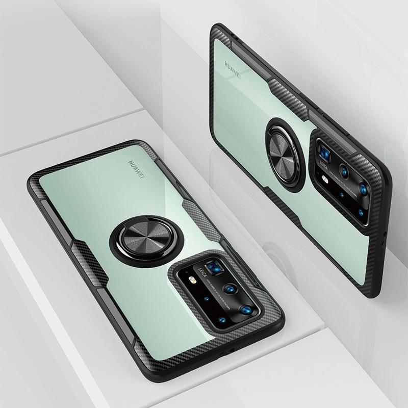 For Huawei P40 Transparent Case P20 P30 P40 Pro P Smart Plus 2019 P30 P20 Lite 2019 Tempered lenses cases With magnetic Car Ring