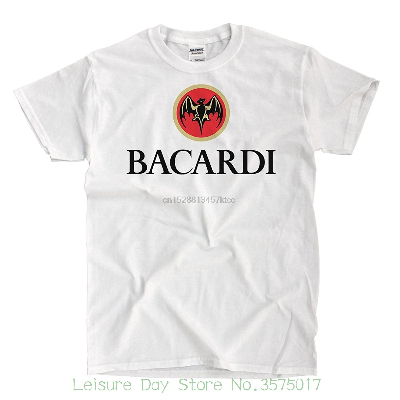 Camiseta de algodón con Logo Bacardi para hombre, camiseta blanca de alta calidad, 100%