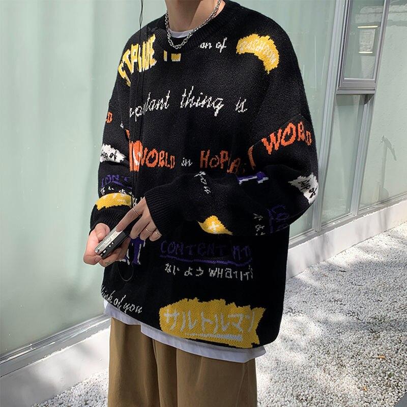 بلوفر رجالي فضفاض من Privathinker مقاس كبير على الطراز الكوري بلوفر سويتر هيب هوب ملابس الشارع الشهير Harajuku ملابس للرجال