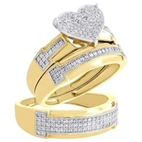 3pcset gorgeous sparkling two tone heart ring crystal birthstone jewelry propose anniversary gift bridal wedding party ring set
