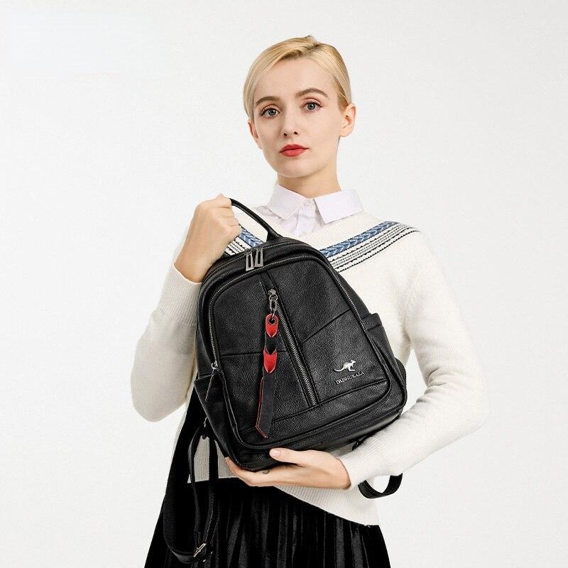 Женские рюкзаки из натуральной кожи, мягкие сумки, классическая черная сумка в стиле преппи, повседневные Рюкзаки, рюкзак для подростков Sac ...
