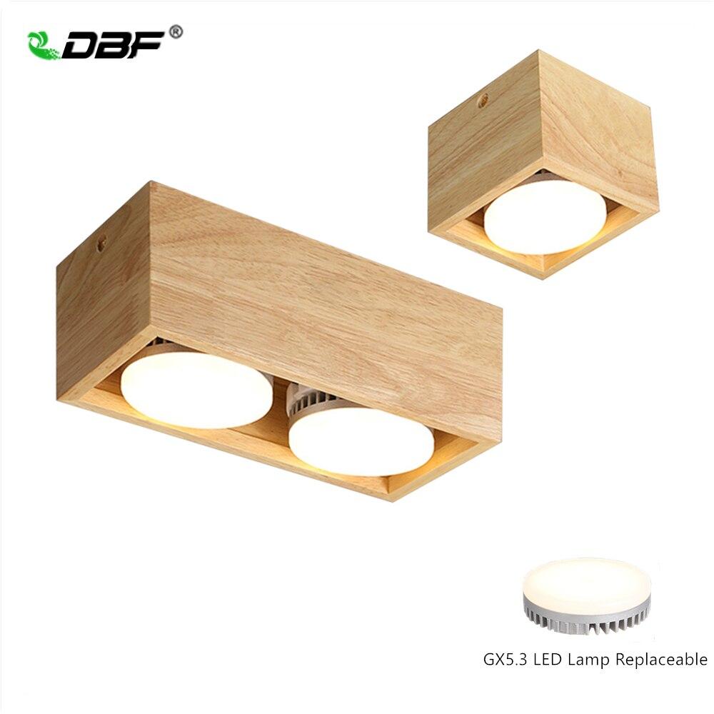 [DBF] Luz empotrada montada en la superficie cuadrada de madera nórdica LED 7W/9W/12W/14W + lámpara LED reemplazable GX5.3 AC85-265V foco de techo de LED