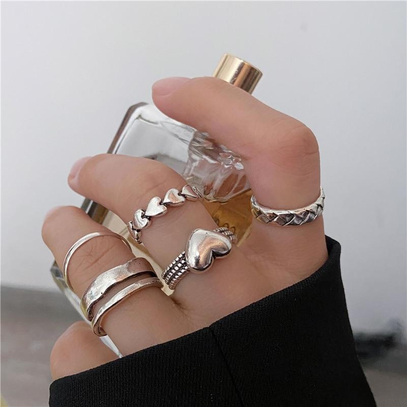 Винтажный комплект колец в форме сердца в стиле панк для женщин и мужчин, 5 шт., геометрическое серебристое кольцо на костяшки пальцев, унисекс, кольцо на палец, ювелирные изделия - Топ аксессуаров с Али