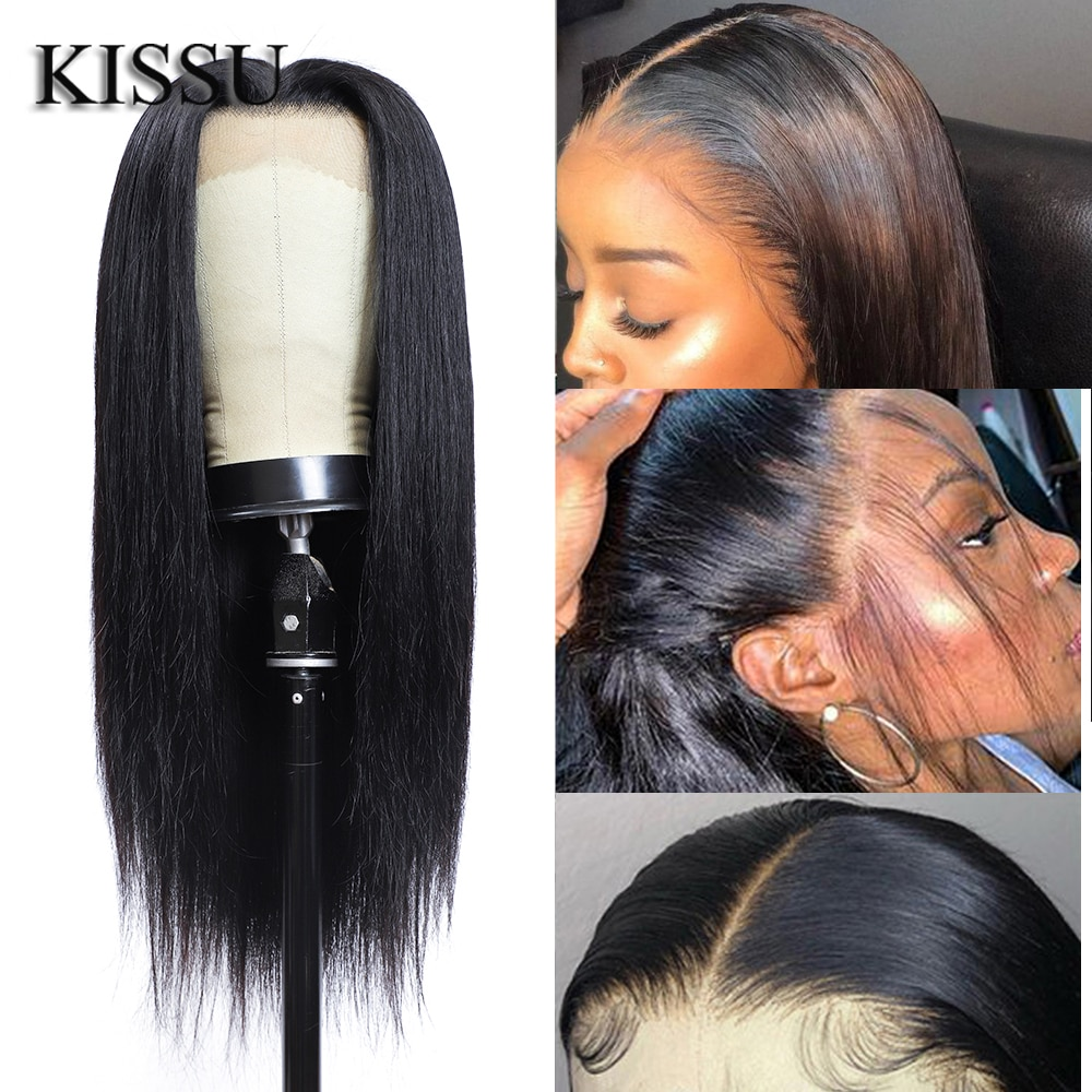 KISSU long wig 28 30 32 inch bone Straight Lace Front Wig with baby hair Brazilia 13X4X1 Lace Front Human Hair Wigs for women