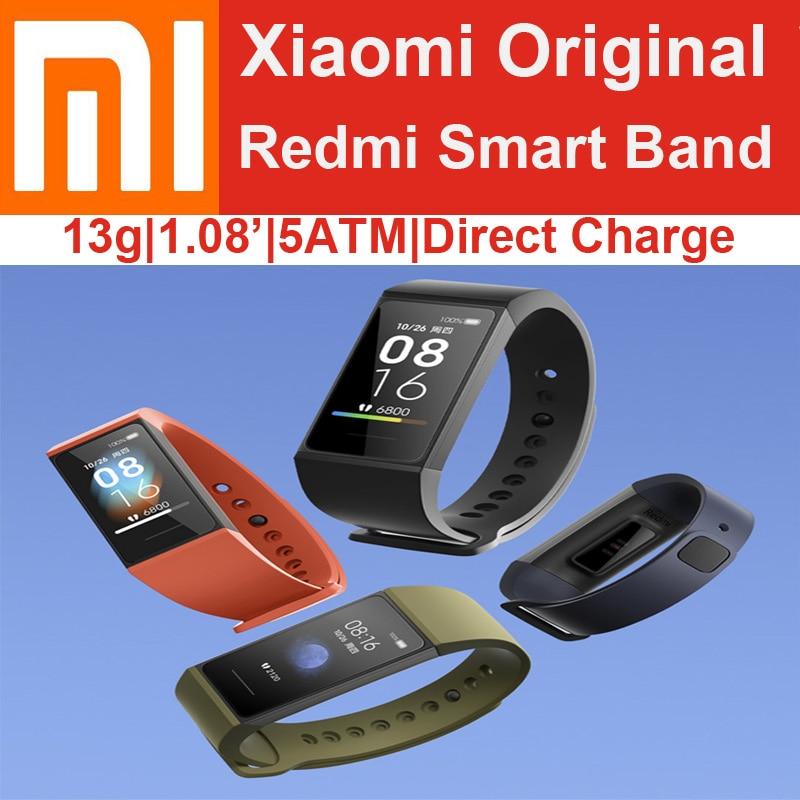 Original Xiaomi Redmi Smart Band Bracelet Wristbands 13g Direct Charging 5ATM 1.08 Bluetooth 5.0 Heart Rate Sleep Sports 14 days