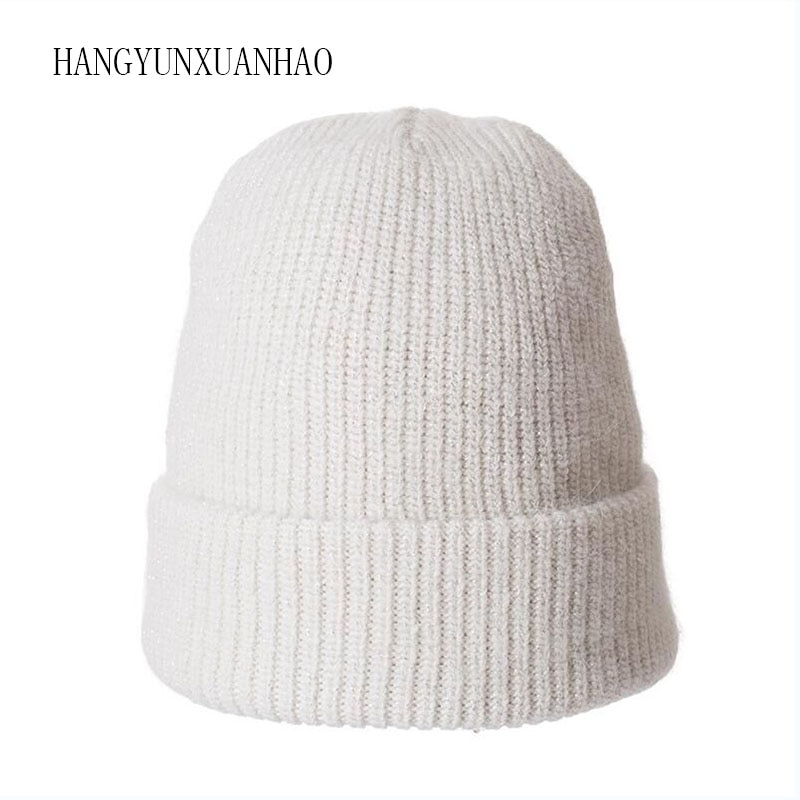 Angola Rabbit Fur knitted Hat Beanie Winter Hat For Women Bonnet Girl 's Hat Autumn Female Cap Keep Warm