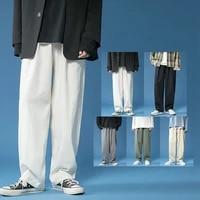 spring summer cotton wide leg pants mens fashion casual pants men streetwear korean loose hip hop straight pants mens trousers