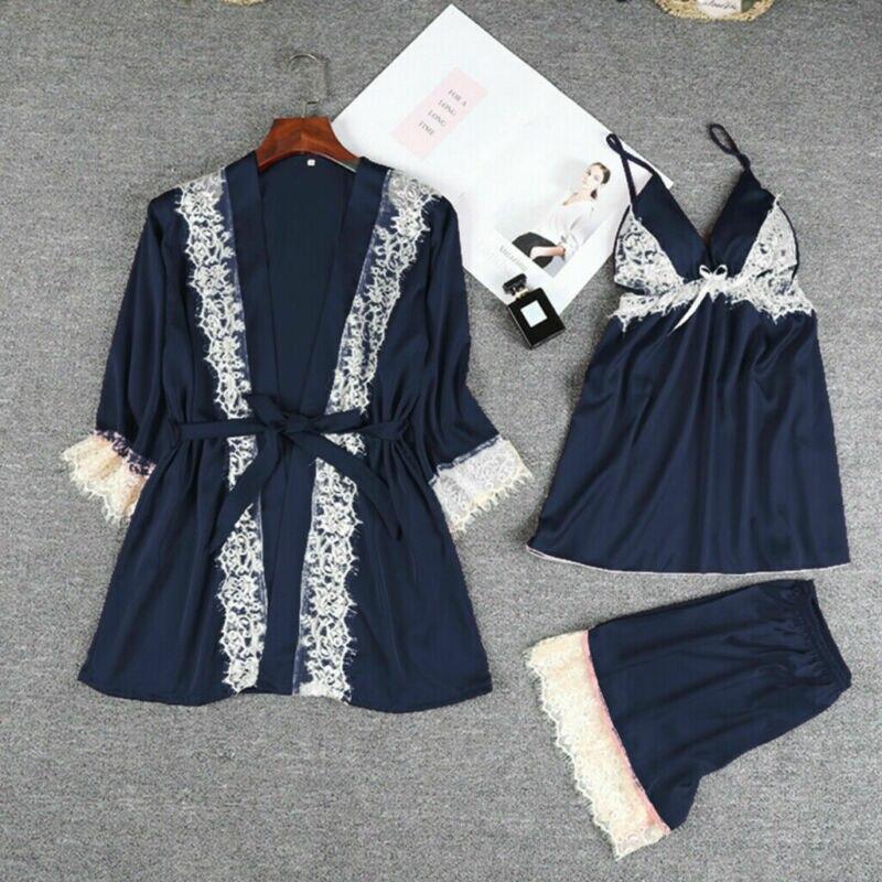 Navidad mujeres Sexy satén seda ropa de dormir pijamas camisón Lencería vestido de noche UK