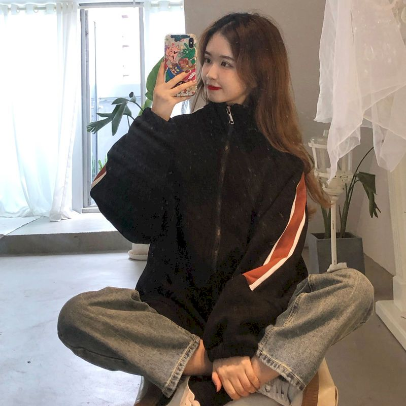 Loose Sports Leisure Women Sweater Jacket Autumn Winter Korean Version 2021 New Tops Coll Coat Plus Size Velvet Thickening