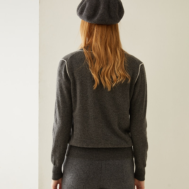 Tailor Shop Custom Made Round Neck Cashmere Cardigan Loose Version Knitted Sweater Coat Solid Color Outer Wear enlarge