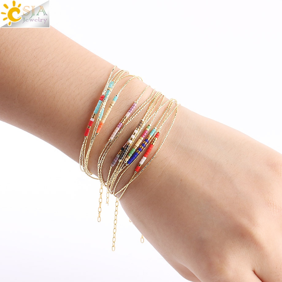 CSJA Pulseras Miyuki Bracelets for Women Beads Bracelet 2-layer Cute Mini Delica  Jewelry Adjustable Gold Color Link Chain S187