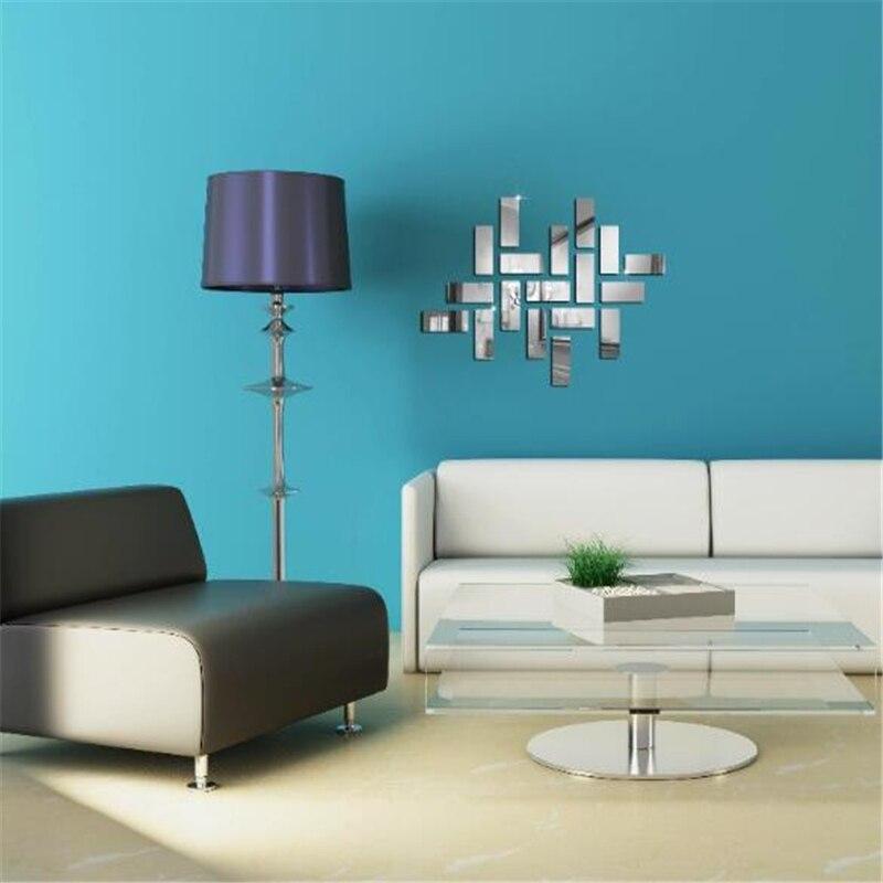 Adhesivo 3D de acrílico para pared con espejo, adhesivo geométrico para pared con puzle, adhesivo para pared para hogar, dormitorio, sofá, adhesivo de decoración verde para pared