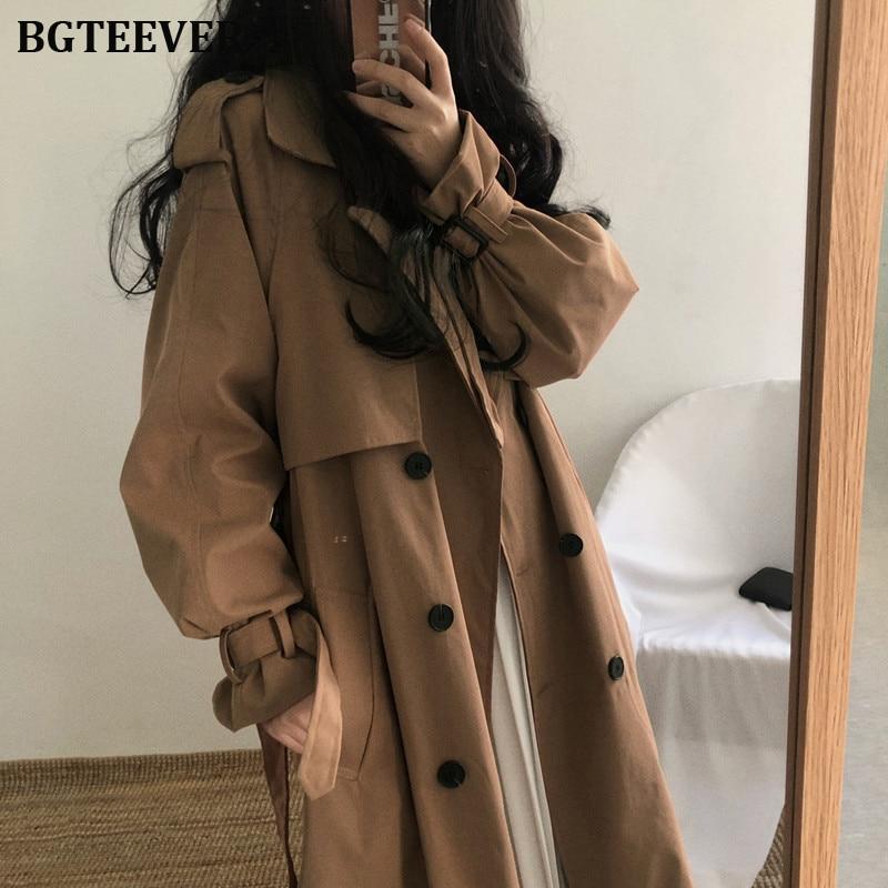 Chic Women Trench Coat Casual Women's Long Outerwear Loose Overcoat with Belt Winter Fashion Double-breasted Windbreaker Femme