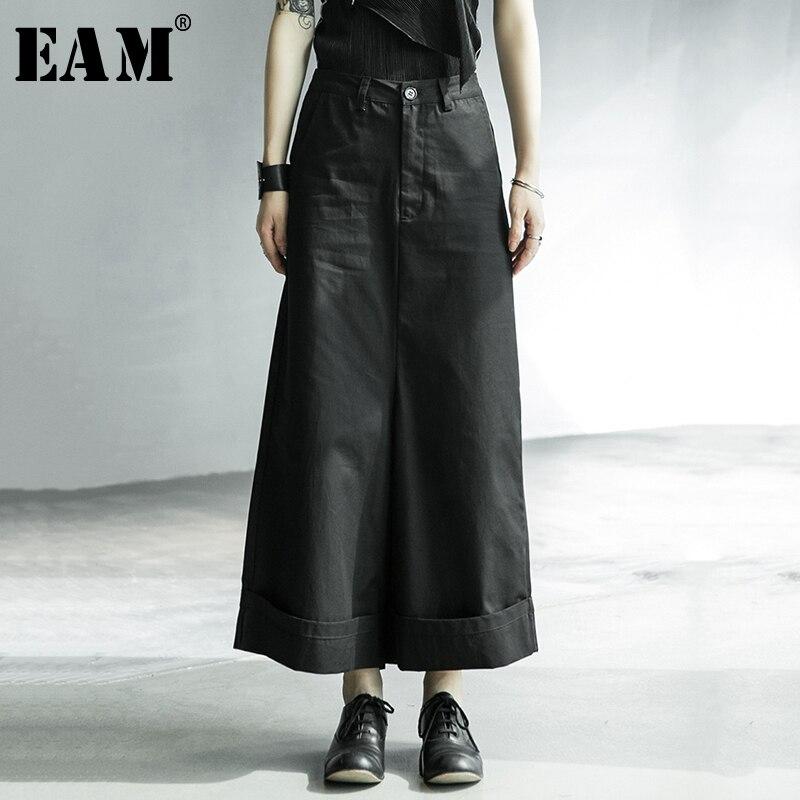 [EAM] High Waist Black Brief Long Wide Leg Fold Trousers New Loose Fit Pants Women Fashion Tide Spring Autumn 2020 1X009
