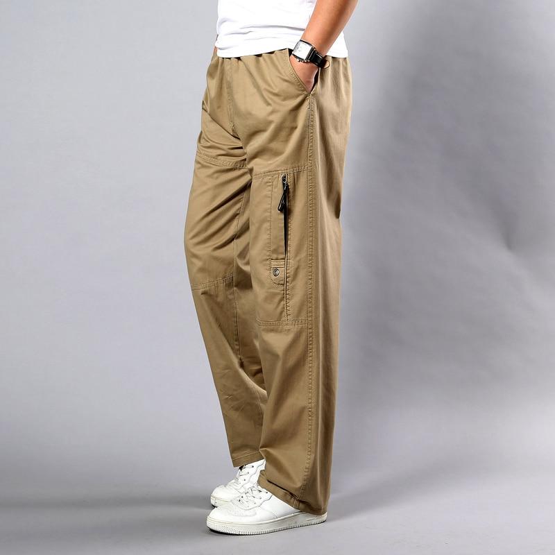Summer Men's Khaki Pants Large Size Straight Fit Big Sizes 5XL Side Pockets Wide Leg Cotton Black Cargo Pants Work Trousers Male
