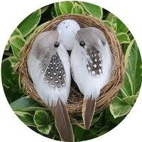 1 ensemble doiseaux plumes realistes avec nid doiseau  artisanat artificiel creatif pour decoration de jardin  pelouse  maison  voiture  ornement