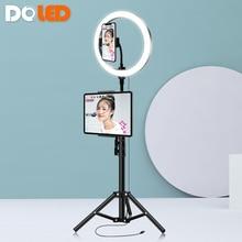 """10 """"Anillo de luz LED con soporte trípode acolchada 160cm Tablet soporte para teléfono para fotografía maquillaje Selfie transmitir Video en vivo foto llenar de luz"""