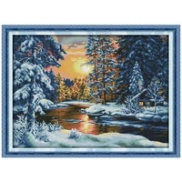 sunset snow scenery counted printed on the canvas 11ct 14ct diy kit cross stitch embroidery needlework sets home decor