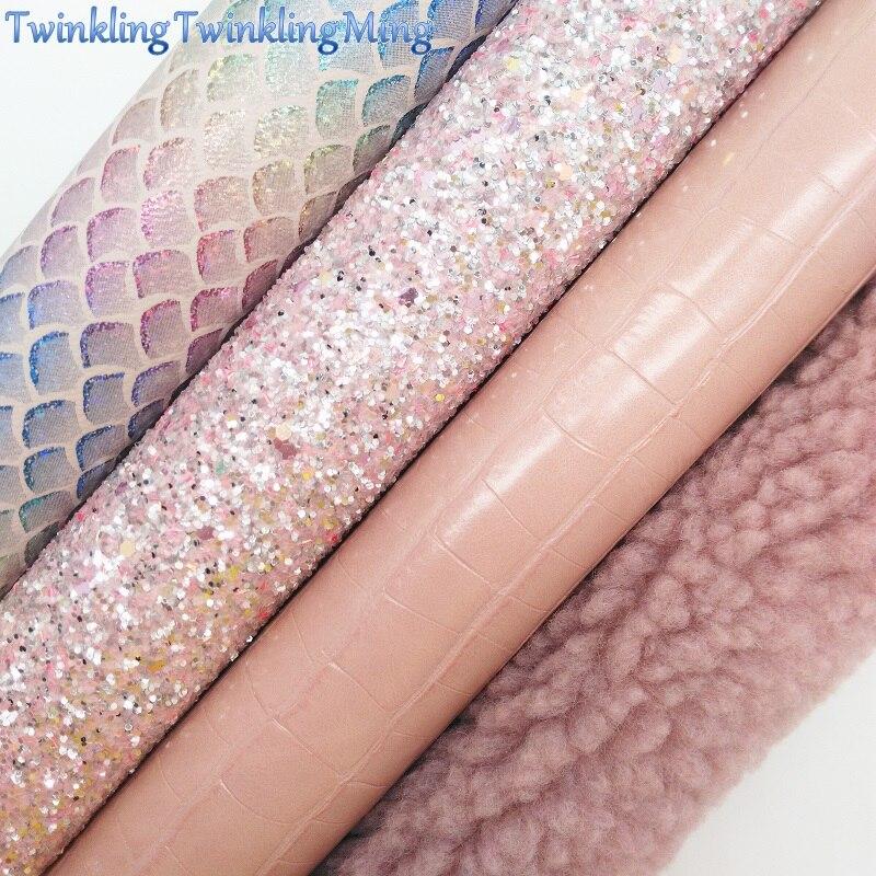 """Brillo de colores mezclados tela imitación Tela de cuero de imitación de piel de cabra hojas de tela para arco A4 8 """"x11"""" Cerrar Ming XM471"""