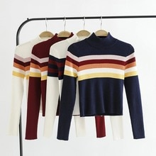 Fashion Sweet Womens Sweater  stripes half-high collar rainbow strip knit long sleeve bottoming sweater Navy blue rainbow strip