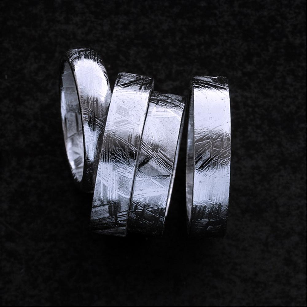 Get Genuine Natural Gibeon Iron Meteorite Fashion Ring Silver Plated Jewelry Wedding Rings Women Men Size 6 7 8 9 10 11 12 AAAAA